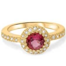 Pink Tourmaline 14K Yellow Gold 3/4ct Pave Halo Diamond Ring Vintage Soliatire