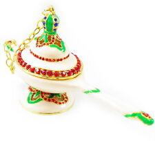 WHITE Aladdin Genie's Lamp Jewelry Box vintage tin rhinestone earring necklace