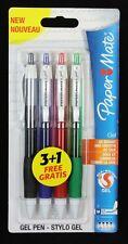 4 x Papermate Silk-Writer GEL Ballpoint Pens Black, Blue, Red, Green NEW