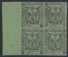 MODENA 1855 - 5 c. n. 8 BLOCCO DI 4, LUSSO, INTEGRO Cert. DIENA € 8.000+