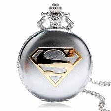 Steel Case Quartz Watch Necklace Chain Cool Superman Pocket Watch Glossy Silver