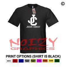 JC Jesus Christ Logo Christian Shirt Black T-Shirt Cross Faith Sports Religious