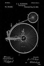 1881 - Velocipede - J. A. McKenzie - Patent Art Poster