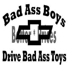 Bad Boys Chevy Vinyl Decal Window Sticker Car Truck ATV Boat Windows ETC.
