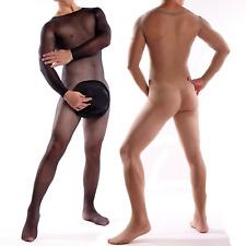 Mens Full Body Pantyhose Nylon Bodystocking Penis Pouch Sheath Sheer Bodysuit UK