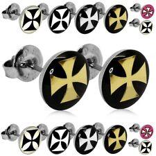 2 Orecchini Perno Disco Bottone Rotondi Croce Di Ferro Nero Oro Argent Unisex