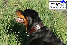 Hundehalsband Leder extra Breit M L XL  Zierstich Kreuz Schwarz Braun Tysons