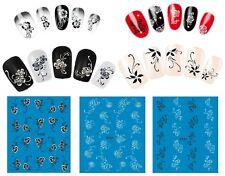 Nail Art Water Transfer Stickers-Adesivi Unghie-11 Modelli-Fiori Bianchi-Neri!!!
