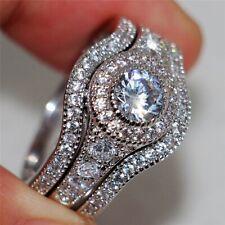 +++ Bague en Argent Massif 925 - 3 Anneaux - 3 bijoux - Diamants cz 2,5 carats +