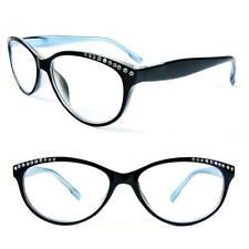 Reading Glasses Cat Eye Frame Spring Hinges Crystal Readers