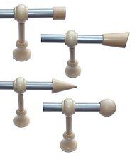 Vorhangstange 20 mm Metall silber + Holz natur 100 - 600 cm