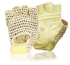 Silla de ruedas Guantes Cuero Medio Dedo Levantamiento de Pesas Fitness Crochet sin dedos