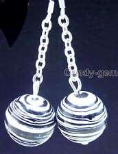 Stripe Agate dangle earring &silver -ear336 Sale Big 14mm Black Round Multicolor