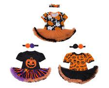 StylesILove Baby Girl Halloween Short Sleeve Romper Tutu Party Dress andHeadband