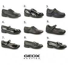Geox JR Casey Ragazze Pelle uniforme Brogues NERO