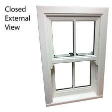 White uPVC Sliding Sash Windows / Various Sizes / White / Cream