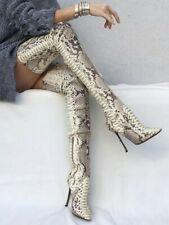 Sexy Women Snakeskin Over Knee High Boots Thigh High Boot Stilettos Heel Shoes