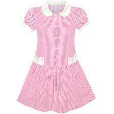 Girls Dress Pink White stripe Collar School Uniform Short Sleeve Age 5-12 Years