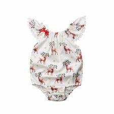 Bilo Cute Baby Girls Xmas Deer Sleeveless Romper Deer Jumpsuit Outfits Clothes S