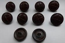 En cuir véritable Boutons 2.5cms large/5 mm épais Metal Queue Couleur châtaigne.