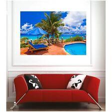 Affiche poster plage cocotier transat  14560063