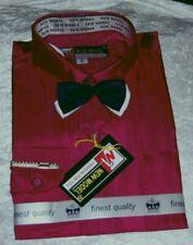 3tlg Set Langarm Hemd Fliege & Krawattennadel Uni Weinrot Bordeaux Gr 104 - 158