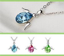 Halskette mit Anhänger Kette Silberkette Geschenk Kristall necklace Engel Damen