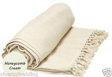 Cream Honeycomb WAFFLE 100% Cotton SOFA / SETTEE / BED Throw + Tasselled Edging