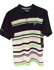 Head Men's Black White Green Dri-Motion Anti-M Golf Tennis Polo Shirt S M L