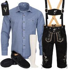 Trachtenset Herren Trachtenlederhose mit Tracht Träger Hemd Schuhe Socken Tasche
