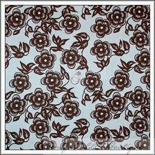 BonEful Fabric FQ Cotton Quilt VTG Baby Light Blue Brown Dot Toile Flower Calico