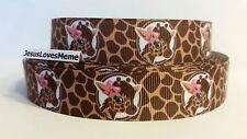 "Grosgrain Ribbon, Baby Giraffes with Pink Bows Portrait, Giraffe Pattern,7/8"""