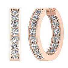 Hoops Earring InOut side Round Cut Diamond 1.50 Carat SI1 G Rose 14K White Gold