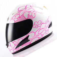 NEW DOT Motorcycle Street Bike Full Face Helmet White Pink Flower Size S M L XL