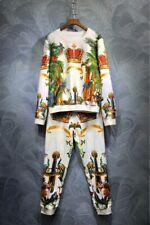 2020 Womens Designer Inspired  Crown Animal Print Top + Jogger Suit