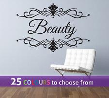 PERSONALISED beauty hair salon NAME nail bar spa swirls wall window art sticker