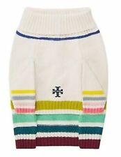 Tory Burch Multi Colored Striped Marino Wool Dog Pet Sweater M L NWT