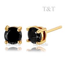 T&T 18K Gold GP 5mm Black CZ Round Stud Earrings (ER45)