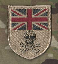 NATO ISAF ALLIED COALITION JSOC CAMP BASTION SAS SSI: UK FLAG SKULL Desert Tan