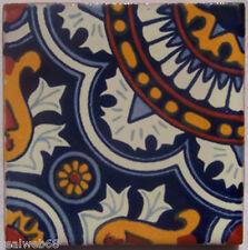 "C117- Mexican Handmade Talavera Clay Tile Folk Art 4x4""  Handpainted"