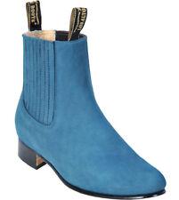 Men's Los Altos JEAN BLUE Charro Ankle Nubuck Suede Boots Leather Outsole EE