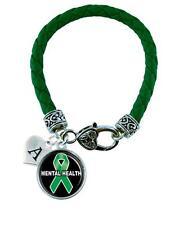 Custom Mental Health Awareness Ribbon Green Leather Bracelet Jewelry Initial