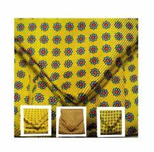 FOULARD UOMO seta ASCOT giallo con microdisegni azzurri rossi cashe col m Italy