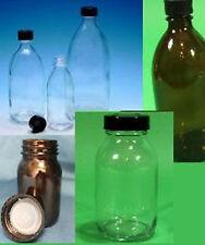 Verpackungsflasche, Flasche, Behälter, Glas, Klar, Braun, mit Schraubdeckel NEU