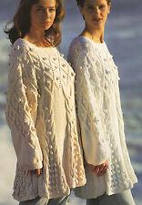 "Swing ARAN Tunica CAVI Bobbles & MODELLO A ROMBO 30 "" - 36"" knitting pattern"