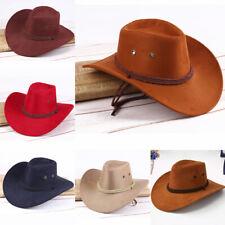 e2a66c81b20834 Men Women Artificial Leather Cowboy Hat Western Cap Wide Brim Sunhat Winter