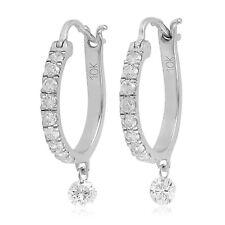 Easter Gift 0.51 Natural Diamond Huggie Earrings 10k White Gold Jewelry