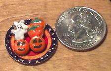 Dollhouse Miniature Halloween Cookies on Pumpkin Plate  1:12 Food 1 inch G13