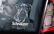 Schnauzer on Board - Car Window Sticker - Standard Dog Sign Decal Art Gift - V02