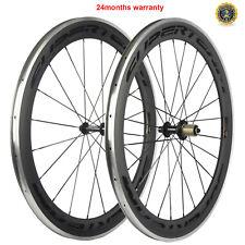 SUPERTEAM 60mm Clincher Carbon Bike Wheels Alluminum Surface Carbon Wheelset